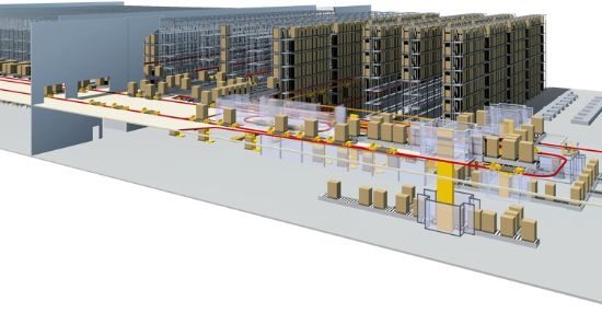 3D representation of a typical logistics center